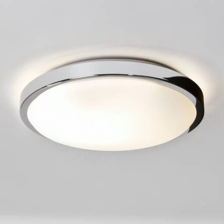 Plafon Lampa Sufitowa Denia 0587 Okragła Ip44 Chromowane Wykończenie Białe Szkło Do łazienki