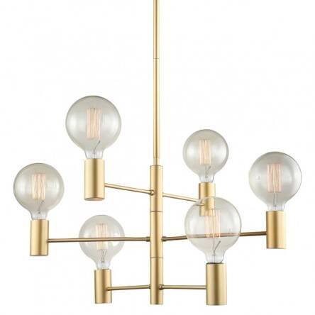 Lampa Wisząca Veva Mdm3339 6 Gd Italux Wykonana Z Metalu O Złotym Wykończeniu Skandynawski Styl Hit
