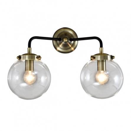 Lampa ścienna Kinkiet Odelia Mb1009 2 Italux W Surowym Stylu Industrialnym Metalowe Elementy Mają Czarne Wykończenie Z Dodatkami Antycznego Brązu