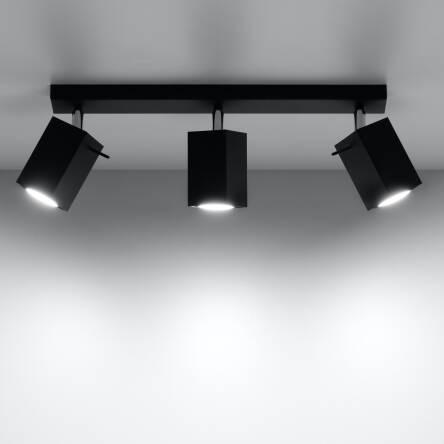Designerska Lampa Sufitowa Listwa Merida 3 Czarny Sl0101 Sollux Lighting Nowoczesne Klosze Prostokątne