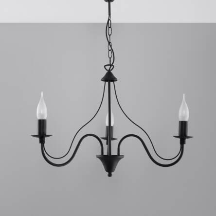 Klasyczna Lampa Wisząca Świeca Żyrandol MINERWA 3 Czarny SL.217 styl pałacowy