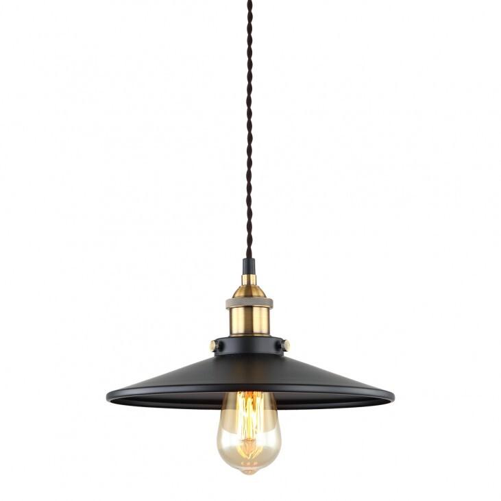 Lampa wisząca Verda - MDM-3458/1M BK+GD   Italux w surowym stylu industrialnym metalowy klosz czarny z ozdobnymi złotymi elementami 26 cm średnicy klosza